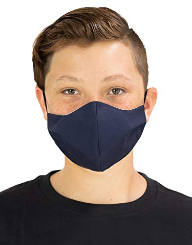 Masker-AID: Cotton Triple Layer Cloth Reusable Youth/Kids Navy Blue Face Mask (Navy)