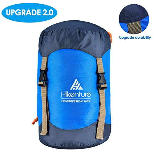 Hikenture Compression Sack for Sleeping Bag, Upgrade 2.0 Anti-Tear Nylon Sleeping Bag Stuff Sack, 10L/14L/20L/30L Water-Resistant Compression Bag, Storage Bag for Camping, Hiking, Backpacking, Outdoor