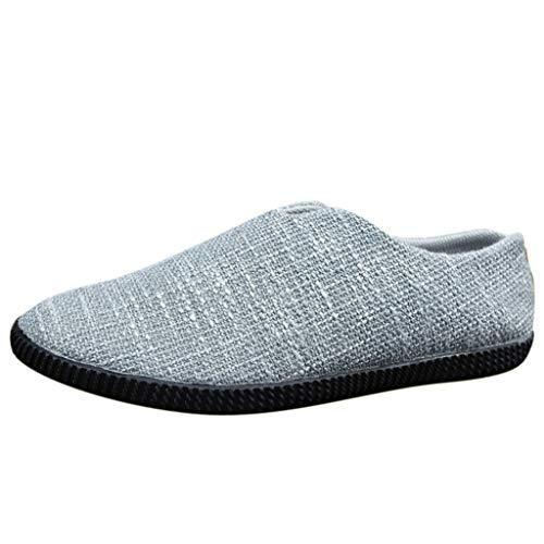 DAIFINEY Herren Hanf Mokassin Schuhe Loafers Schuhe Weichen Atmungsaktiv Futter Wanderschuhe Pantoffeln Hausschuhe Home rutschfeste Slippers(Blau/Blue,41)