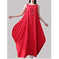 長袖ワンピース非対称無地ノースリーブポケットコットンドレスレースドレス (Size:Large; Color:Red)