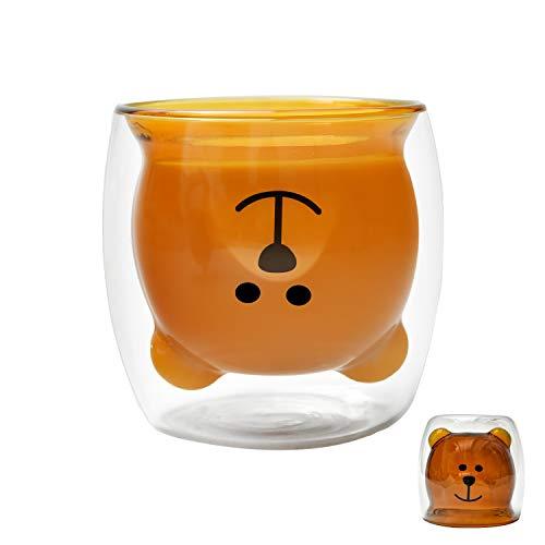 Cute Bear Doppelwandige Glas-Tasse, Espressotasse, Kaffeetasse, Teetasse, Milchbecher, Weinglas für Männer und Frauen, kreative Tasse für Personal und Büro, 250 ml (Brauner Smile Bear)
