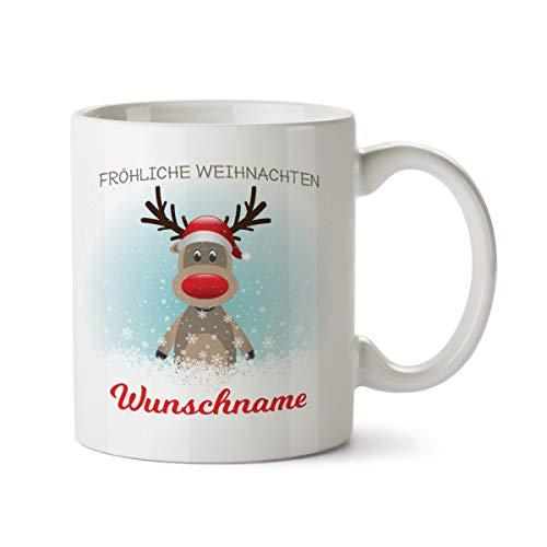Partycards Personalisierte Tassen zu Weihnachten mit verschiedenen Motiven – Geschenkidee (Rudolf Rentier, 300ml)