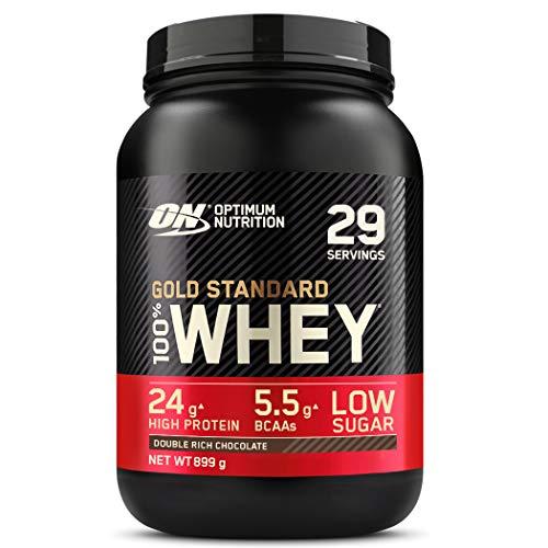 Optimum Nutrition ON Gold Standard Whey Protein Pulver, Eiweißpulver Muskelaufbau mit Glutamin und Aminosäuren, natürlich enthaltene BCAA, Double Rich Chocolate, 29 Portionen, 899g