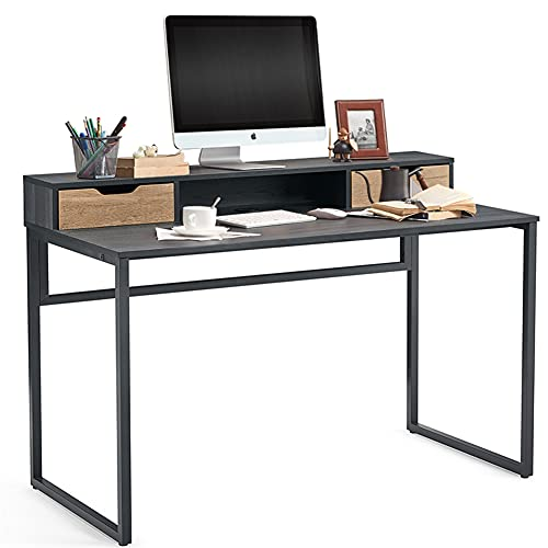 47 inch Home Office Desk Writing Study Gaming Desk with 2 Storage...