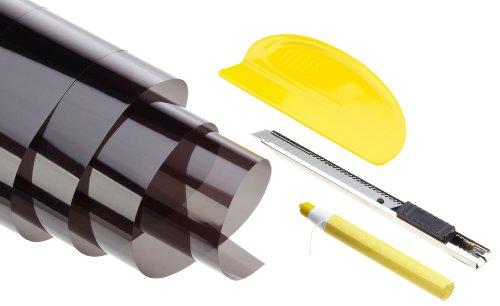 Unitec Sonnenschutz- und Tönungsfolien-Set Autofolien Folien für Heckscheiben Maße 75 x 152 cm + 50 x 152 cm, schwarz mit AGB