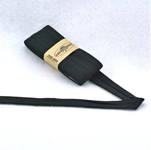 Oaki Doaki Jersey-Einfassband 3m, elastisches Schrägband, Breite: auf 2cm vorgefalzt, schwarz (100)