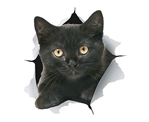 KEYkey Gatito del Gato 3D Pegatinas Negro a Prueba de Agua Pegatinas Pared Desmontable para WC y Nevera 2 Paquete