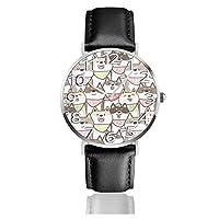 腕時計 レザーウオッチ 可愛い柴犬 軽量 防水 耐衝撃性 アンチスリップ 贈り物 銀 ファッション カジュアル ビジネス クオーツ 時計 メンズ レディース