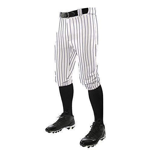 Champro Baseball-Hose mit dreifacher Krone, mit Stricknadelstreifen und verstärkten Schiebebereichen, Weiß, Marineblau, Größe L