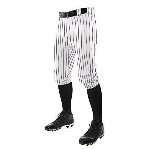 CHAMPRO Triple Crown Knicker Style Baseball Pants with Knit-in Pinstripes and Reinforced Sliding Areas, White,Navy, Small