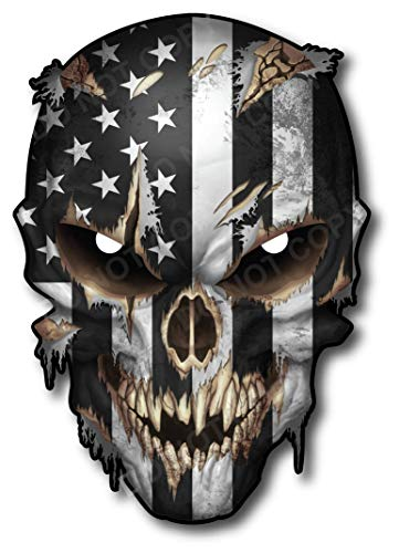 Skull with Reflective Eyes American Flag Vinyl Decal Stickers Car Truck Sniper Marines Army Navy...