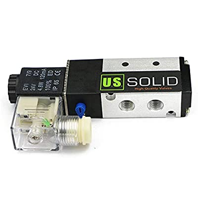 """1/8"""" NPT 5 Way 2 Position Pneumatic Electric Solenoid Valve DC 24 V from U.S. SOLID by U.S. SOLID"""