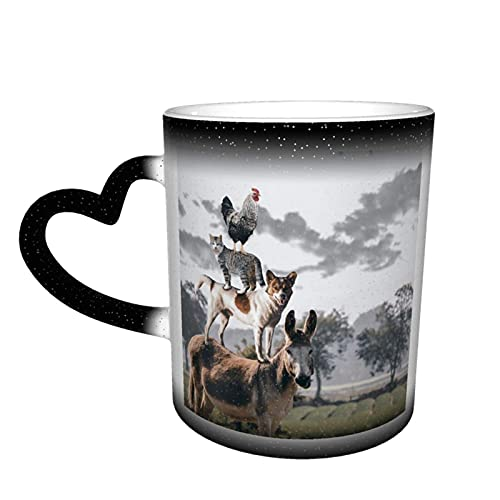 Oaieltj Tazas divertidas que cambian de calor, Cow God Cat Pollo Personalizado Sensible al Calor Color Cambiante Taza de Té de Leche Taza de Café Mágico