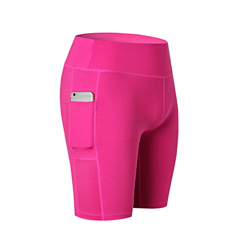 SwissWell Damen Joggen Shorts Sport Kurze Leggings Fitness Tights Yoga Shorts Kurze Hosen Mesh Radlerhose Hot Pants Hipster Workout mit Taschen Pink 2XL