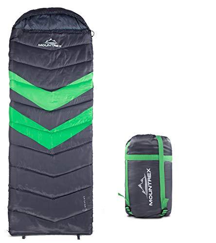 MOUNTREX® Schlafsack für Camping & Outdoor - 3 Jahreszeiten Warmer Deckenschlafsack 205 x 75cm (1.6 Kg) - Leicht - Koppelbar (Rechts)