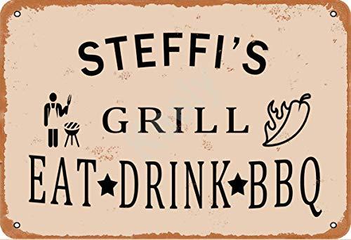 Keely Steffi'S Grill Eat Drink BBQ Metall Vintage Blechschild Wanddekoration 12x8 Zoll für Café, Bar, Restaurant, Pubs, Männerhöhle, Dekorativ