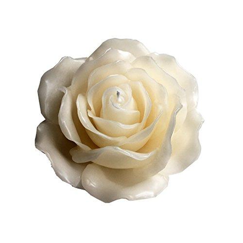 Wohnsinn Große Schwimmkerze Dekokerze Rosentischkerze Standkerze Rosenblüte handgemacht mit 21 Rosenblättern in Creme 15x7,5cm