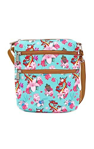 LOUNGEFLY X Disney Mulan Mushu and Cri-Kee AOP Nylon Passport Bag