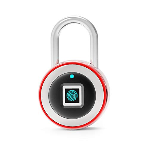 LTJX Huella Dactilar Bloquear Candado de Seguridad Electrónico Cerradura de Puerta Segura sin Llave Carga USB IP65 Soporte a Prueba de Agua 180 Días en Espera,Rojo
