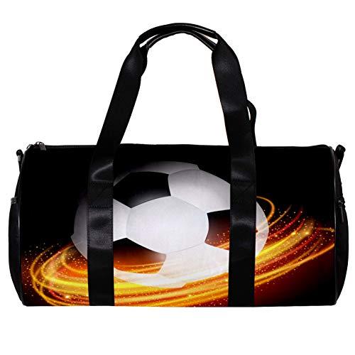 Bolsa de deporte redonda con correa de hombro desmontable bola de fútbol líneas brillantes fondo, bolso de entrenamiento durante la noche para mujeres y hombres