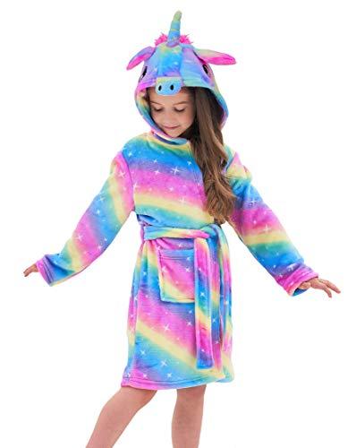 Doctor Unicorn Soft Unicorn Hooded Galaxy Bathrobe - Unicorn Gifts for Girls (Blue/Yellow/Pink, 7-9Years)