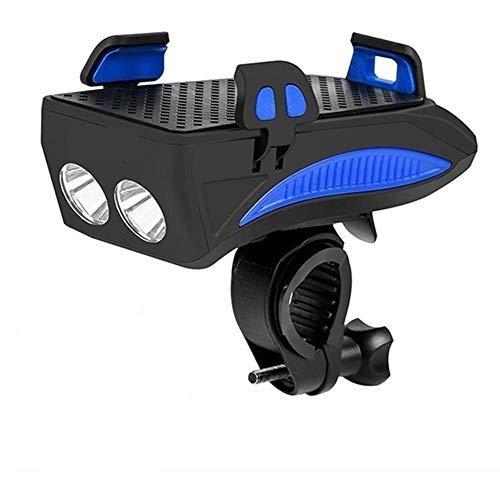 Luz Bicicleta LED con Soporte para Teléfono,Luz Delantera de MTB Recargable con Bocina,4000Mah Banco de Energía,3 Modos de Luz,400Lumens,para Smartphone de 4.0''-6,3'',Estanca,Azul