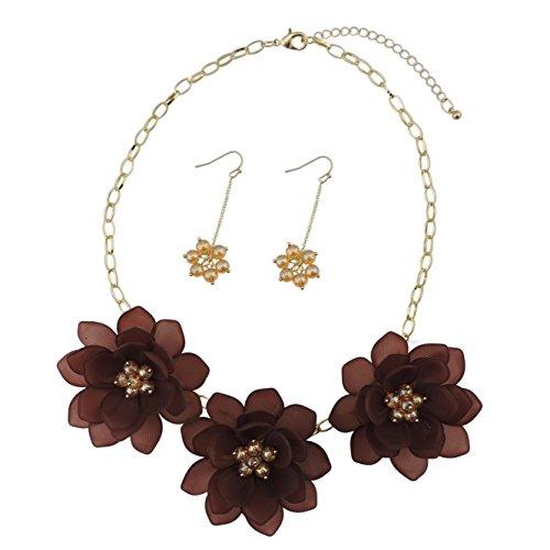 BOCAR - Set di gioielli con ciondolo a forma di fiore, collana e orecchini, da donna, idea regalo (NK-10372-cioccolato caldo)
