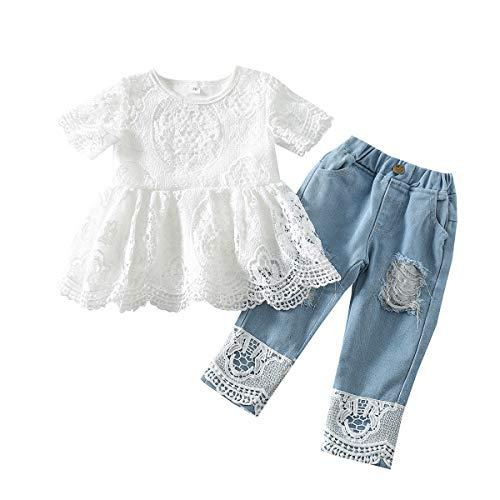 Toddler Girl Clothes - Juego de 2 camisetas de encaje floral para niños, escava, de manga corta, top vaqueros, camiseta de verano blanco y azul. 12-24 meses