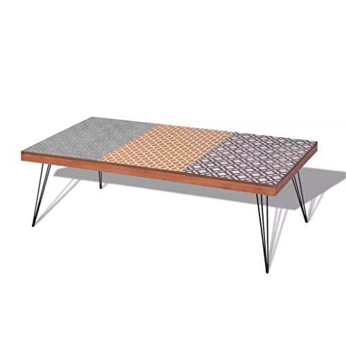 Marr/ón Metal Mesa de Caf/é para Sal/ón Dormitorio F/ácil de Montar 120 x 60 x 38 cm Nishore Mesa de Centro Materia de MDF
