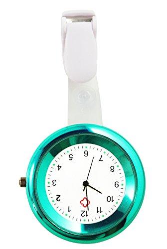 Ellemka - JCM-2103 N NN H+ Krankenschwesternuhr Pflege | Taschenuhr Ansteckuhr Analog | Digitales Quarzwerk | Hängeband in ABS Kunststoff mit Clip | Türkisblau Turquoise