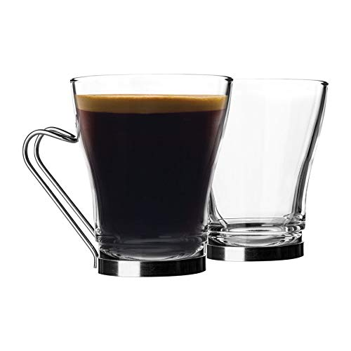Bormioli Rocco Oslo Tee-/Kaffee-/Latte-Gläser-Set – Hartglas-Cappuccino-Tassen – Edelstahlgriff – 220 ml