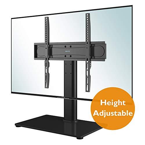 BONTEC TV Standfuss TV Ständer Standfuß für 26-55 Zoll LCD LED OLED Plasma Flach & Curved Fernseher bis zu 40KG, Höhenverstellbar & Stabil, Max.VESA 400x400