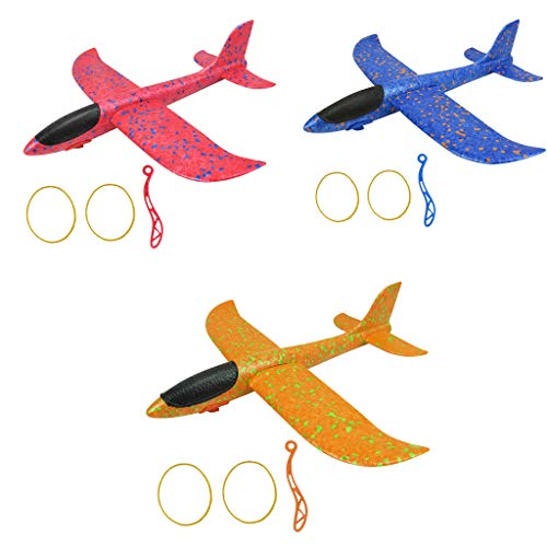 Jinjin 3Pcs Hand Throwing Aircraft Gliding Aircraft Foam Throwing Inertia Aircraft Toy Launch Aircraft Model Outdoor Toys Games Activities Amusements (Random)