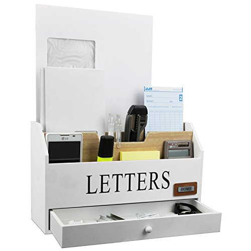 Wohaga® Praktischer Schreibtischorganizer mit 3 Holztaschen und 1 Schublade Briefablage Postablage im Shabby-Look - Weiß/Natur