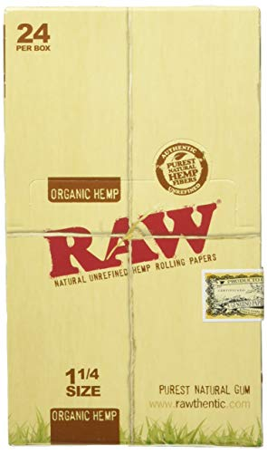 RAW Unrefined Organic 1.25 1 1/4 Size Cigarette Rolling Papers Full Box of 24 Packs, Yellow, 50 Count (Pack of 24)