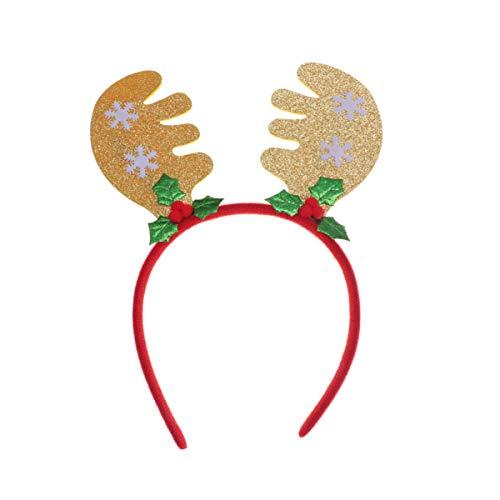 Amosfun Navidad Diadema De Cuernos De Astas con Campana Oreja Aro De Pelo Accesorio para Disfraces De Navidad Fotos para Niños Navideña