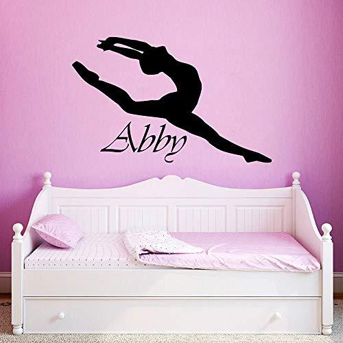 Nombre etiqueta de la pared personalizada nombre de la niña bailarina bailarina de ballet gimnasta niña etiqueta de la pared decoración de la habitación de la niña A4 42x67cm