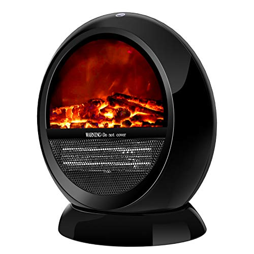 Space Heater - Electric Heater for Home, Portable Space Heater, Fast Heating, 1200W Strong Power, Tip-Over Switch & Oscillation, Infrared Heater, 3D Flame Effect, Eletric Heater for Indoor Use