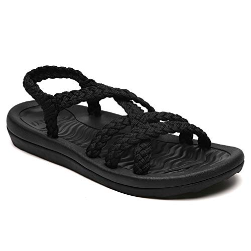 Comfortable Strap Sandals for women, Athletic slides with Adjustable Hand-Woven ropes, Durable Hiking Sandals with Rubber Soles black size 6