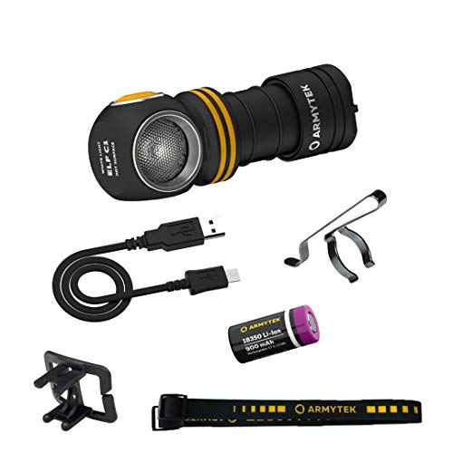 Armytek Linterna frontal Elf C1 v2, luz blanca fría, 1000 lúmenes, LED, micro USB, recargable 18350, batería de iones de litio incluida