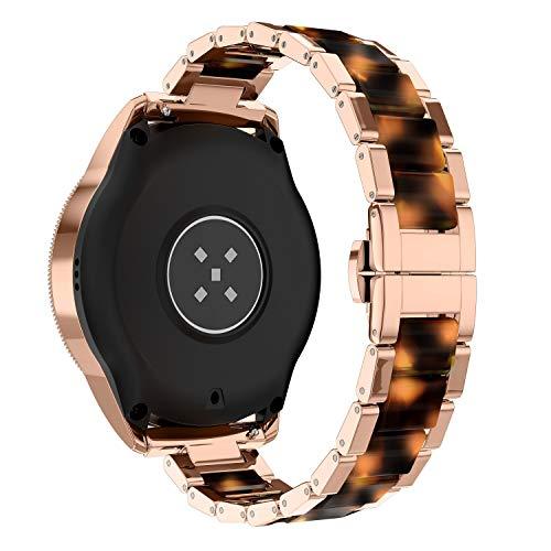 Glebo Pulsera compatible con Samsung Galaxy Watch Active 2, 40 mm, 44 mm, Active 40 mm, Watch 3 41 mm, Watch 42 mm, 20 mm, metal y resina para reloj inteligente para mujer, oro rosa + ámbar