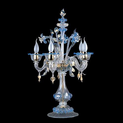 Valentina Murano Glas Große Tischleuchte blau transparent | Handgefertigt in Italien | Tischlampe Klassisch Dekorativ Dimmbar | Lampe E 14