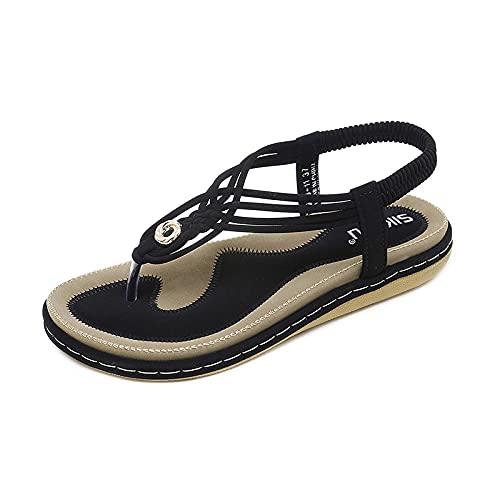 Sandalias para Mujer Sandalias de Playa de Verano Zapatos Bohemios Planas Tiras en T elásticas Sandalias de Punta con Clip Sandalias sin Cordones Zapatos Casuales para de Vacaciones Antideslizante