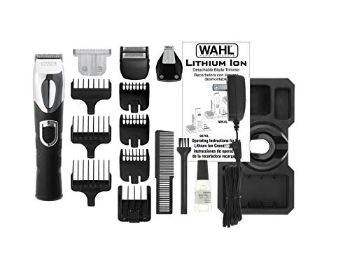WAHL 17-Piece Lithium Ion All-In-One Trimmer, Comes Complete with 3 Beard Guides, Ear Nose and Brow Detailer, Dual Foil Shaver, T-Blade Trimmer with Three Guide Combs