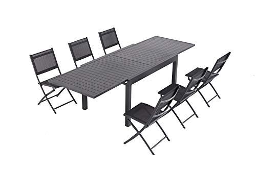 Laxllent Sitzgruppe Alu Gartenmöbel-Sets,Ausziehtisch mit 6 Klappstühle,135/270CM Schwarz,im Garten Balkon terrase