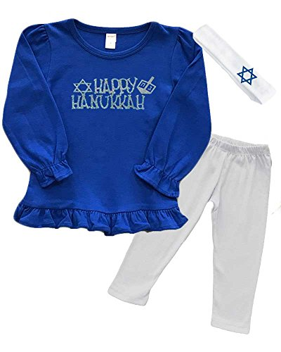 Girls Hanukkah Outfit - Happy Hanukkah (Royal, 2y)