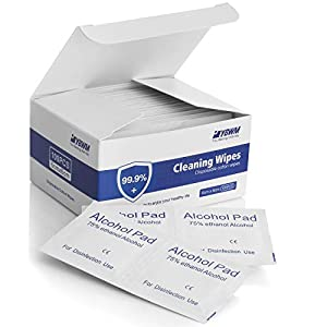 YBWM Disposable 75% A~lcohol Wipes Individually Wrapped Cleaning Wipes Wet Pads for House and Office Cleaning Public Health 6x6cm 100pcs from YBWM