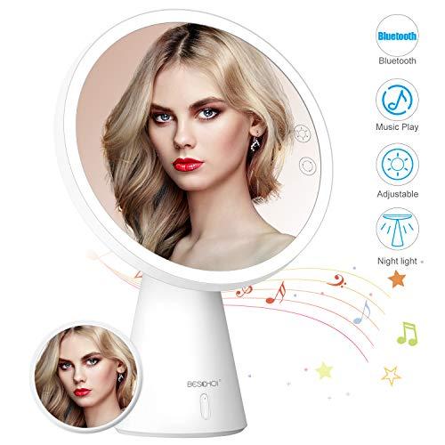 BESCHOI 3-in-1 Kosmetikspiegel mit LED Licht, Bluetooth Lautsprecher mit 5X Magnetischer Vergrößerungslupe, 3 Farbtemperaturen, einstellbare Helligkeit, kann als Nachttischlampe, Tischlampe, Geschenke