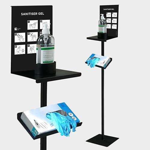 Q&B Grafiche - Dispensador de gel desinfectante para tiendas y empresas TOT10-G Totem, base de acero para gel con soporte para guantes