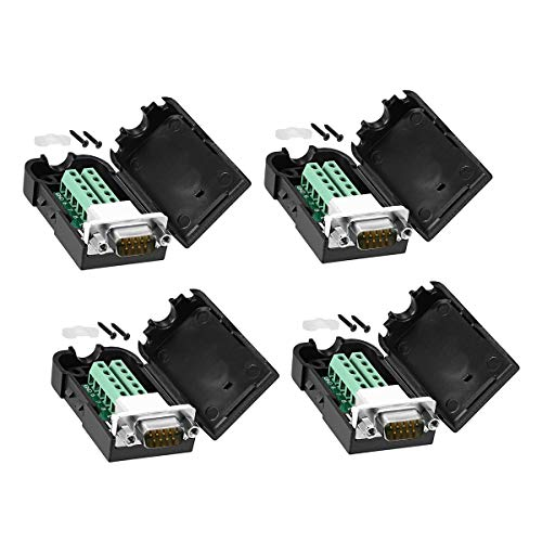 CenryKay DB9 Solderless RS232 D-SUB Serial to 9-pin Port Terminal Male Adapter Connector Breakout Board with Case Long Bolts Tail Pipe 2PCS Male